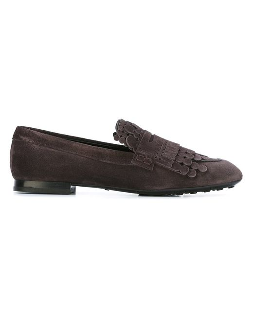 Tod'S | Женское Коричневый Round Fringe Loafers 36 Leather/Suede/Rubber