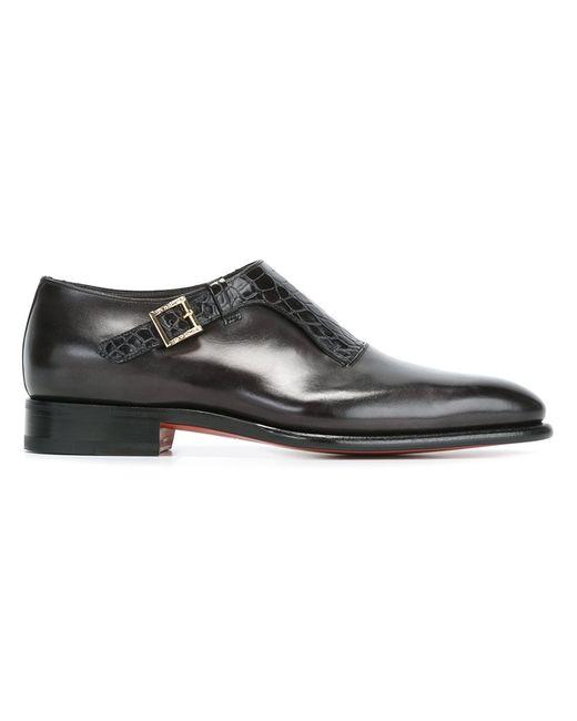 Santoni | Мужское Чёрный Textured Front Monk Shoes 6.5 Leather