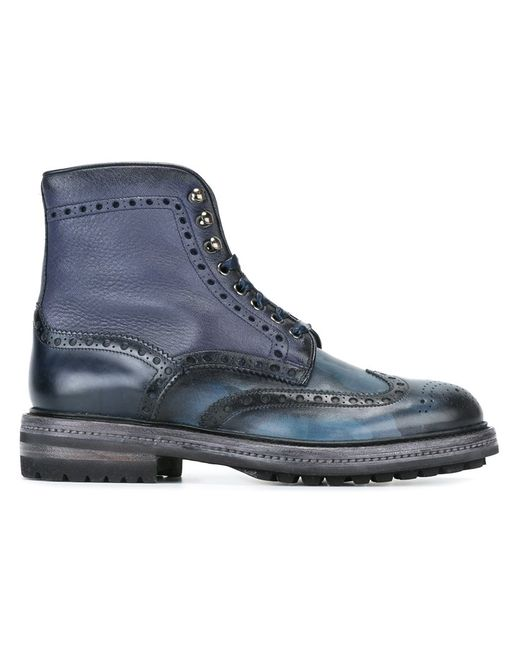 Santoni | Мужское Синий Camouflage Quarter Brogue Boots 7.5 Leather/Rubber