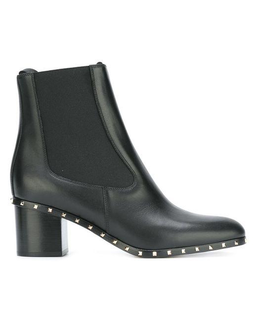 Valentino | Женское Чёрный Micro Rockstud Ankle Boots 37.5 Leather/Metal