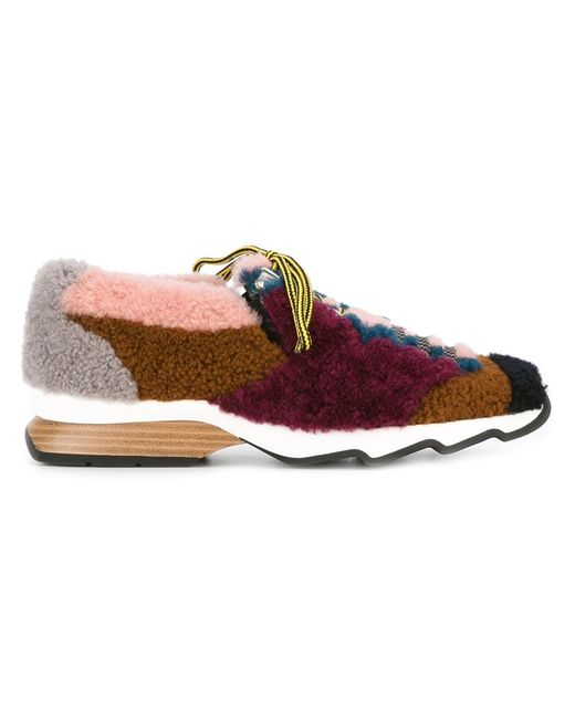 Fendi | Женское Shearling Sneakers 38 Leather/Lamb Fur/Rubber
