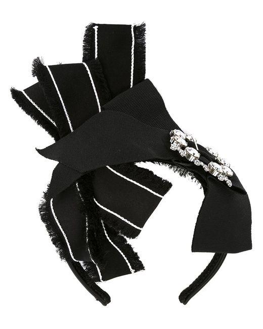Dolce & Gabbana | Чёрный Crystal Buckle Bow Hairband Silk/Polyester/Metal Other/Glass