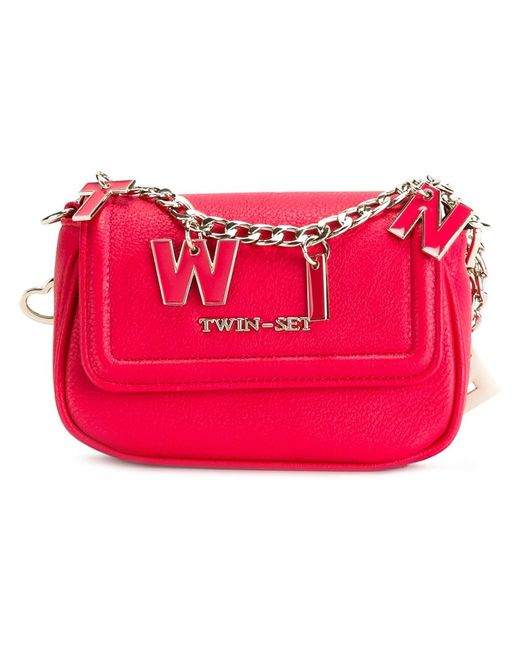 Twin-set | Женское Розовый Lettered Chain Crossbody Bag