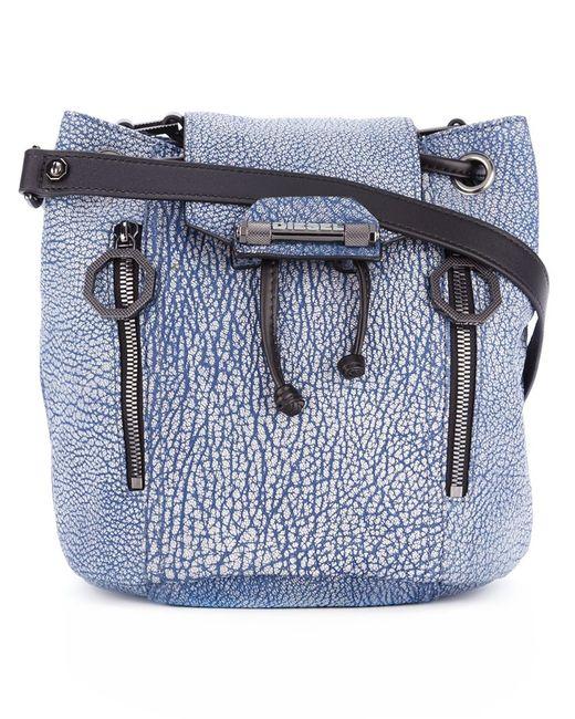 Diesel   Женское Синий Textured Bucket Shoulder Bag