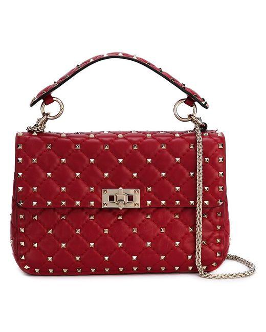 Valentino   Женское Красный Rockstud Matelasse Shoulder Bag
