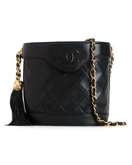 Chanel Vintage   Женское Чёрный Fringe Bucket Chain Bag