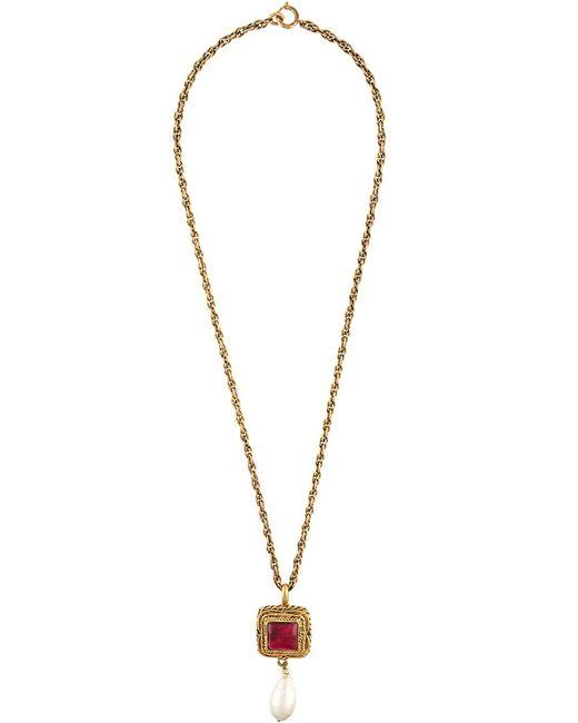 Chanel Vintage   Желтый Square Pendant Necklace