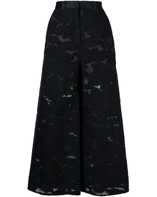 Self-Portrait | Женское Чёрный Embroidered Wide Leg Trousers 6 Acrylic/Nylon/Polyester