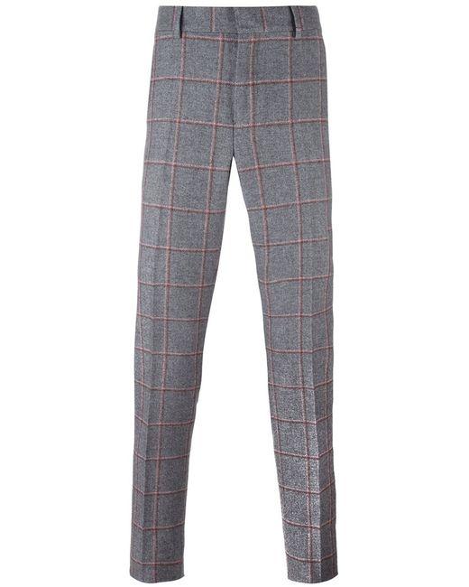 Bally | Мужское Серый Checked Tailored Trousers 46 Silk/Cotton/Wool