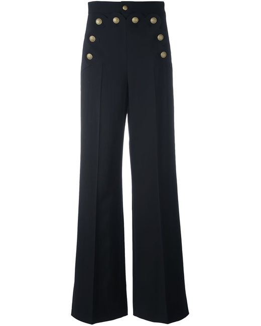 Red Valentino   Женское Синий Buttoned Wide Leg Trousers 42 Polyester/Spandex/Elastane/Wool