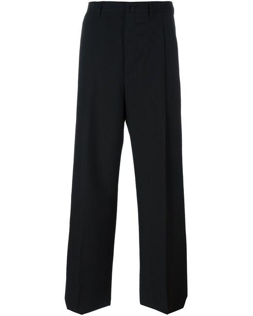Lanvin   Мужское Чёрный Tailored Wide Leg Trousers 46 Viscose/Virgin Wool