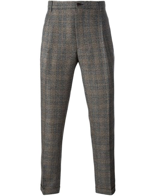 Etro | Мужское Серый Plaid Tapered Trousers 48 Silk/Acetate/Viscose/Wool