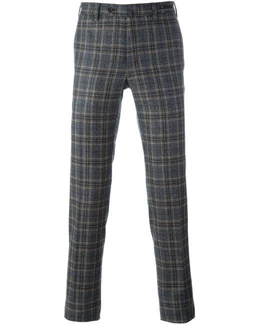 Pt01 | Мужское Серый Checked Slim Fit Trousers 46 Virgin Wool