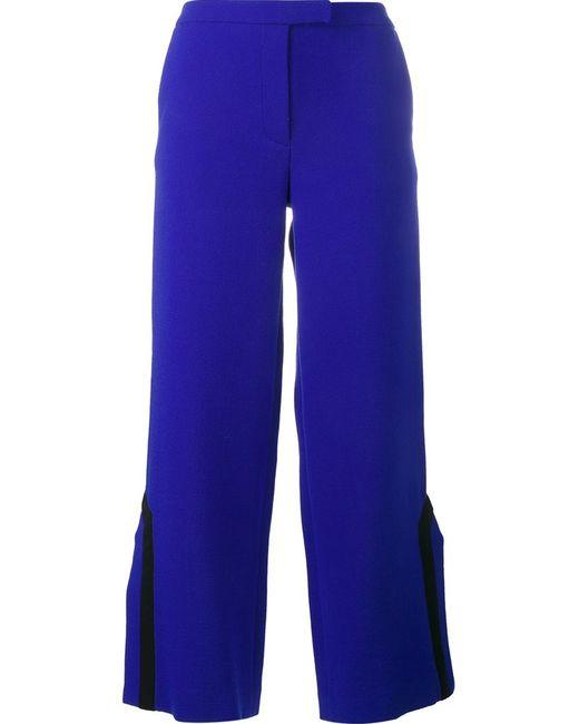 OSMAN | Женское Синий Contrast Trim Side Slit Trousers 10 Wool