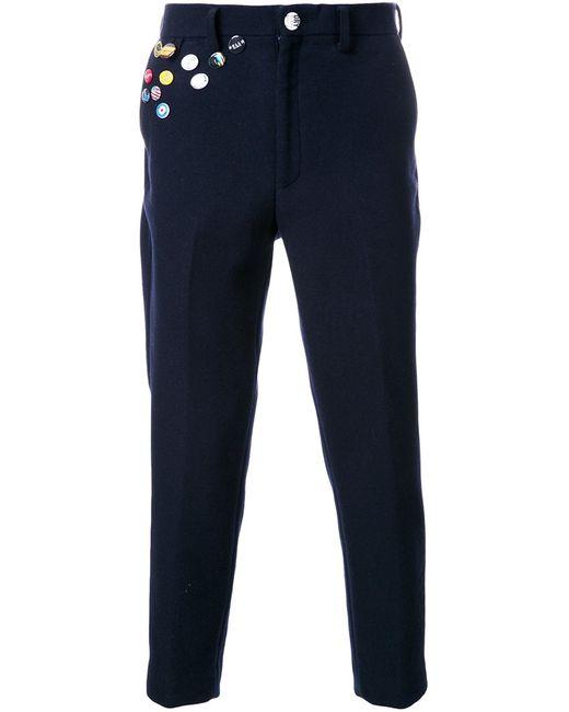 Doublet | Мужское Синий Pin Detail Cropped Trousers 2 Nylon/Wool