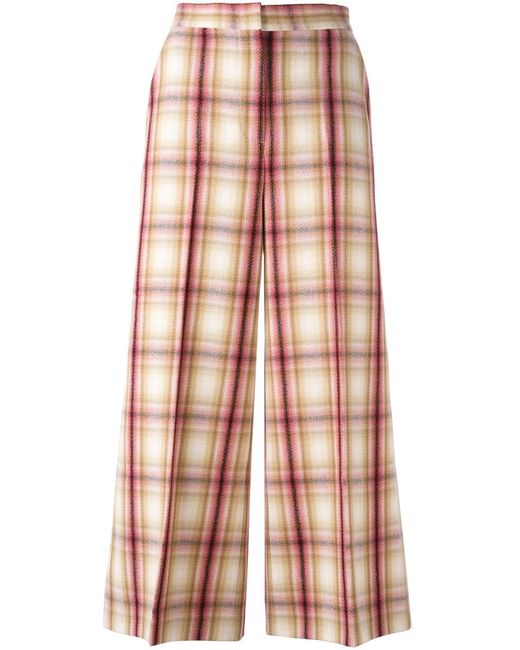 MSGM | Женское Nude/Neutrals Plaid Wide Leg Cropped Trousers 40 Polyester/Virgin