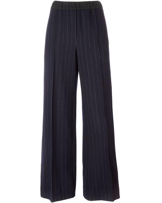 Odeeh | Женское Синий Pinstripe Wide-Legged Trousers 38 Cotton/Virgin Wool