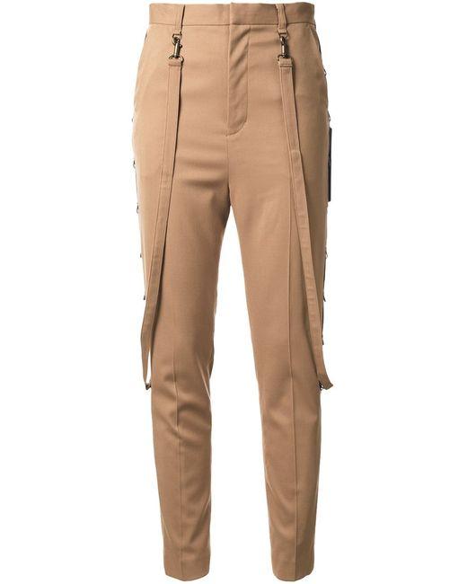 G.V.G.V.   Женское Коричневый Strap Detail High-Waisted Trousers 36 Polyester/Polyurethane/Wool