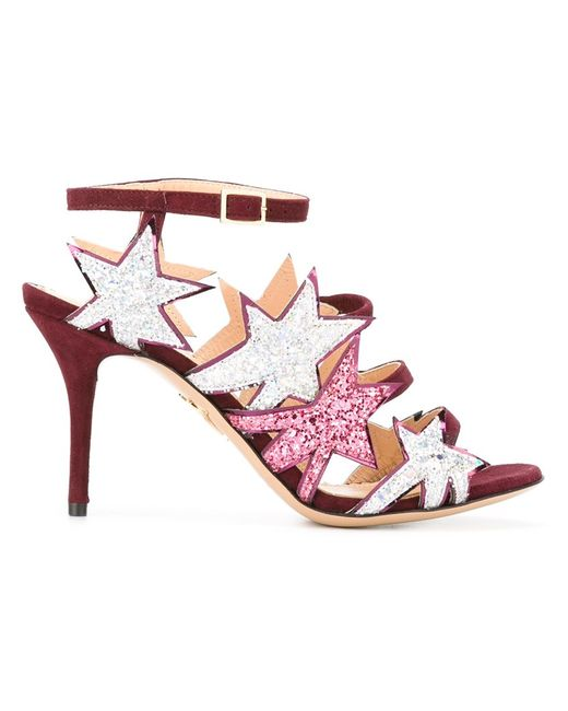 Charlotte Olympia | Женское Розовый Twinkle Toes Sandals 39 Leather/Suede/Pvc