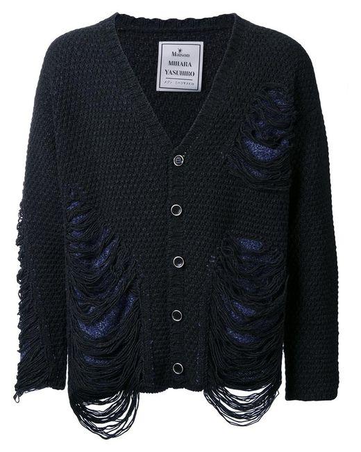 Maison Mihara Yasuhiro   Мужское Серый Frayed Textured Knit Cardigan 48