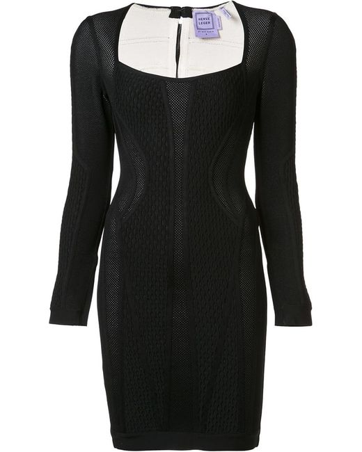 Hervé Léger | Женское Чёрный Jacquard Fitted Dress Medium Nylon/Spandex/Elastane/Rayon