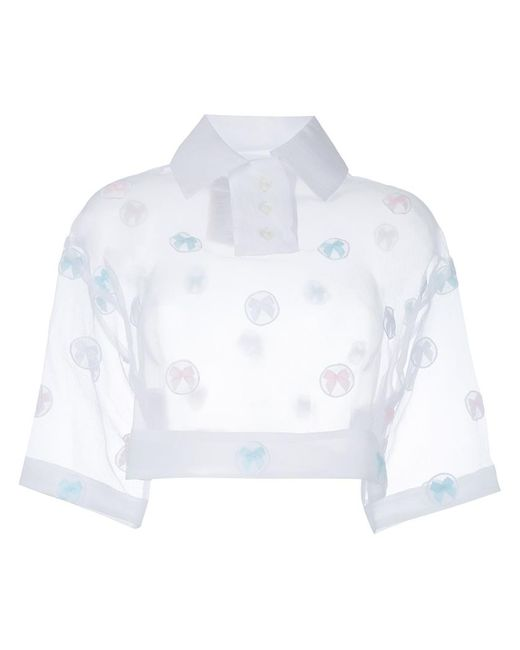 Jenny Fax   Женское Белый Sheer Cropped Polo Top Medium Polyester