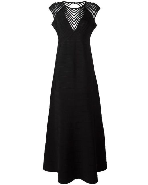 Hervé Léger | Женское Чёрный Shortsleeved Gown Large Rayon/Nylon/Spandex/Elastane