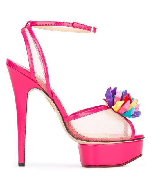 Charlotte Olympia | Женское Розовый Pomeline Sandals 38 Leather/Nylon
