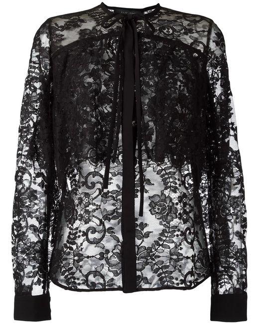 Elie Saab | Женское Чёрный Pussybow Lace Shirt 36 Cotton/Polyamide/Silk