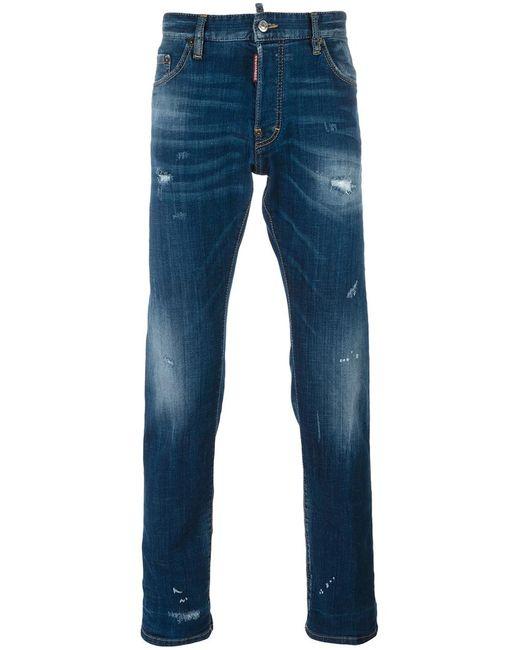 Dsquared2 | Мужское Синий Sexy Twist Distressed Bleach Jeans 46 Cotton/Spandex/Elastane/Polyester