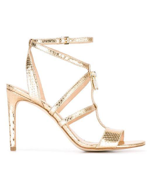 Michael Michael Kors | Женское Серебристый Snakeskin Detail Mid-Heel Sandals 6