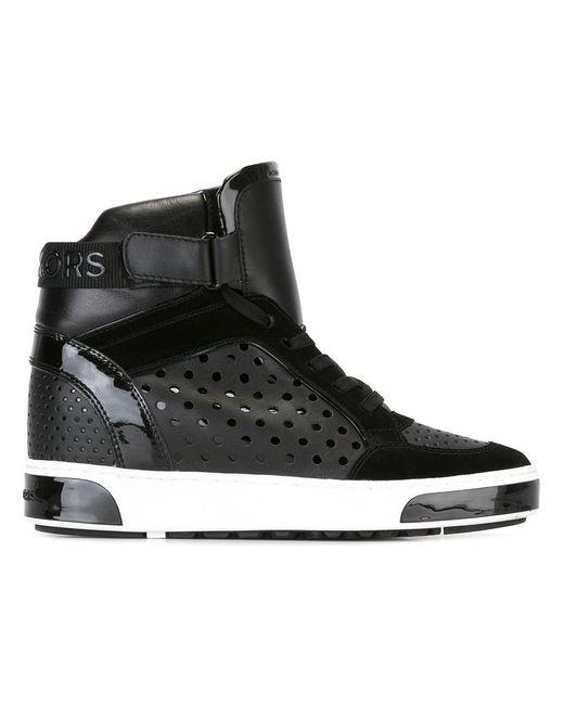 Michael Michael Kors | Женское Чёрный Lasered Hi-Top Sneakers 7.5 Calf