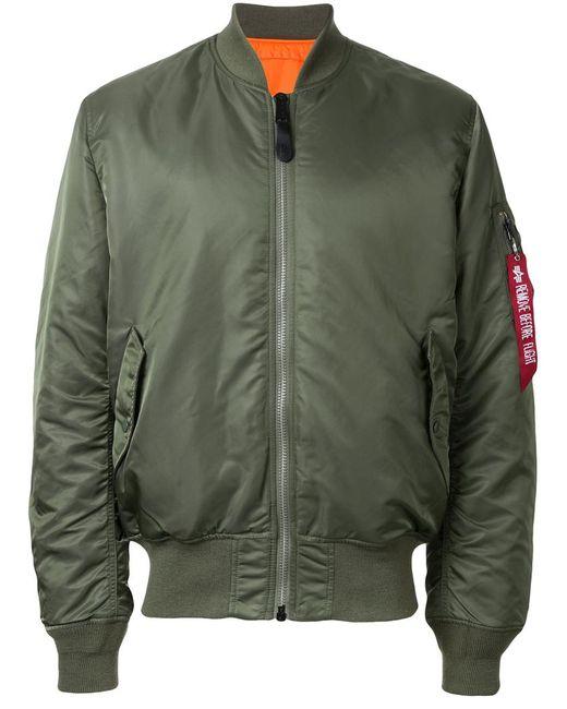 Alpha Industries | Мужская Зелёная Куртка-Бомбер С Накладными Карманами