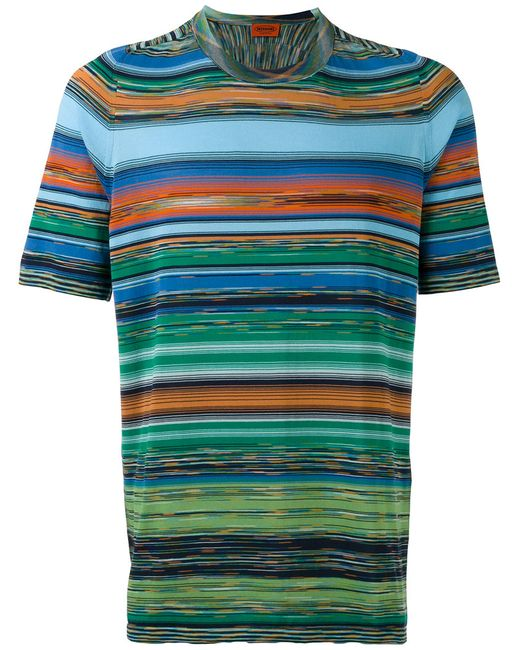 Missoni | Мужское Зелёный Blurry Stripes Print T-Shirt