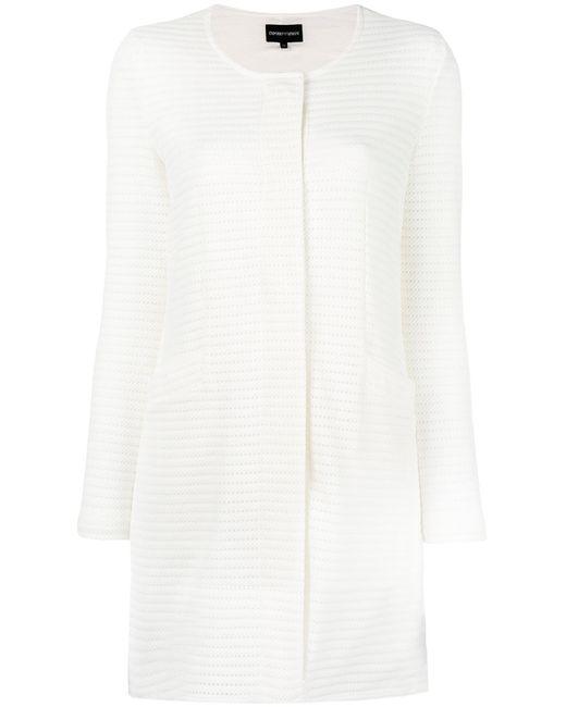 Emporio Armani | Женское Белый Collarless Single Breasted Coat Size 42