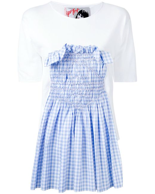 Jenny Fax | Женское Белый Smocked Gingham Insert T-Shirt Size Medium