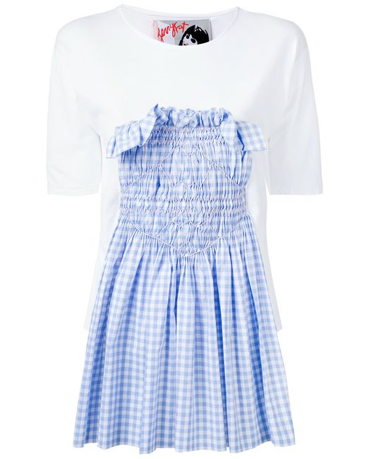 Jenny Fax | Женское Белый Smocked Gingham Insert T-Shirt