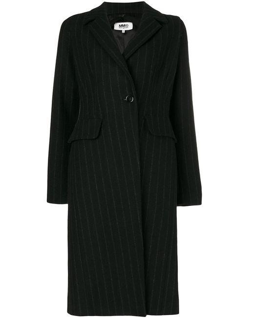 MM6 by Maison Margiela | Женское Чёрное Пальто В Тонкую Полоску