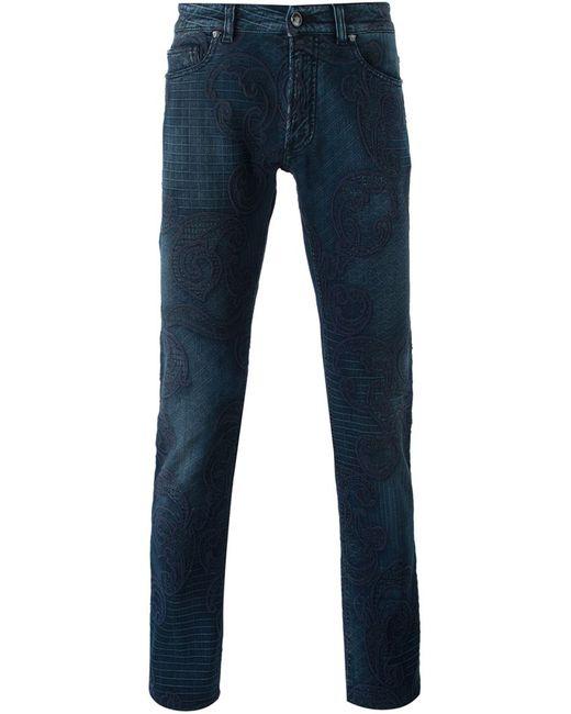 Versace | Мужские Синие Джинсы Кроя Скинни С Вышивкой