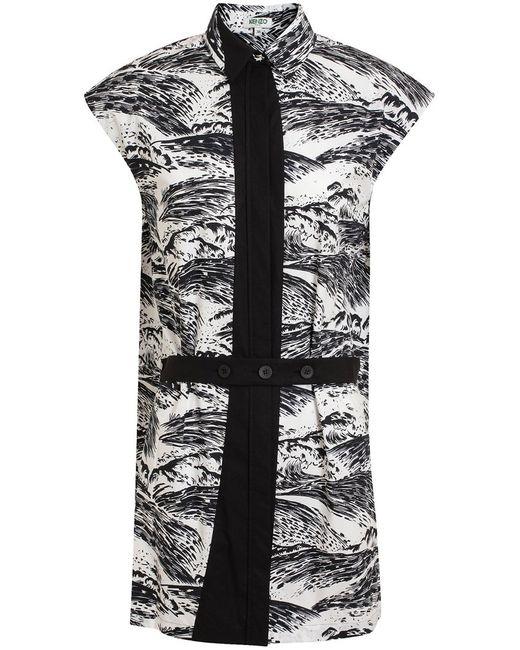 Kenzo | Женское Чёрное Платье С Волнистым Принтом