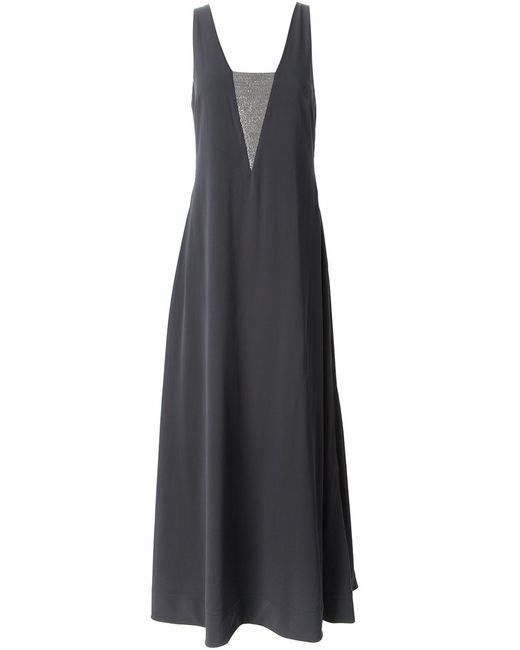Brunello Cucinelli | Женское Серый Stretch Silk Flared Evening Dress From