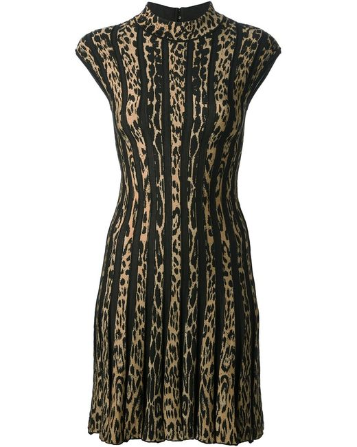 Roberto Cavalli | Женское Коричневый Virgin Wool Blend Leopard Print Striped Dress