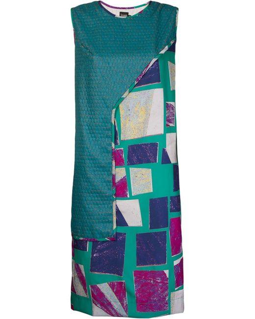 FERNANDA YAMAMOTO   Женское Синее Многослойное Платье Шифт