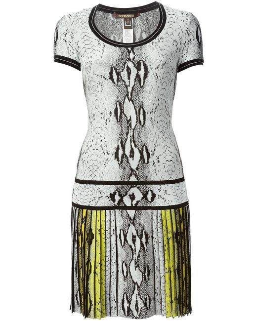 Roberto Cavalli | Женское Белый Snakeskin Print Dress From Featuring A Scoop
