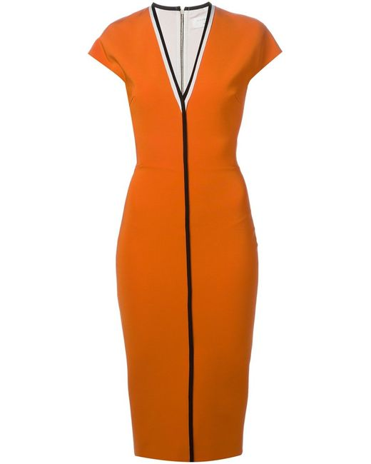 Victoria Beckham | Женское Mandarin Stretch Blend And Leather Contrast Trim