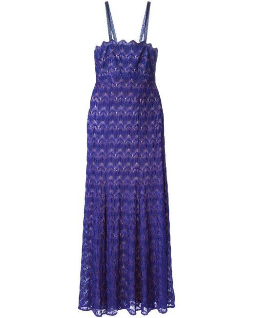 Missoni   Женское Синее Вязаное Крючком Удлинённое Платье
