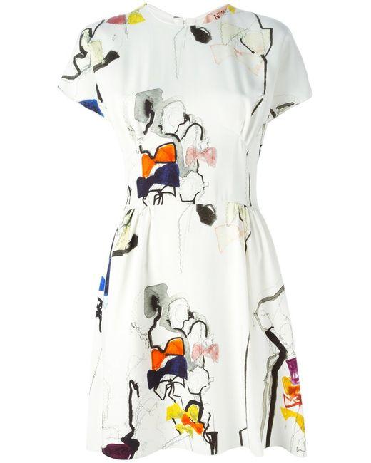 No21 | Женское Белое Платье С Принтом