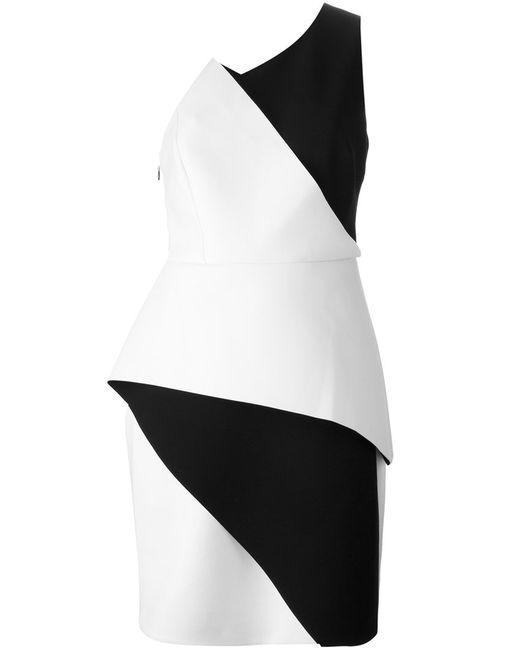 Halston Heritage | Женское Чёрное Платье Колор-Блок