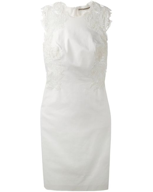 Ermanno Scervino | Женское Cotton Blend Embroidered Detail Fitted Dress From