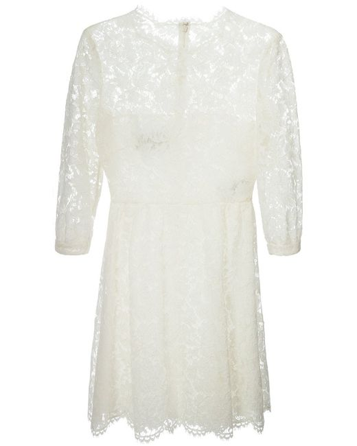 Valentino | Женское Cotton-Silk Blend Lace Dress From Featuring A